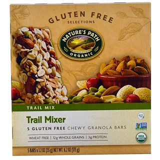 Nature's Path, Organic, Trail Mixer, Chewy Granola Bars, Gluten Free, 5 Bars, 1.2 oz (35 g) Each
