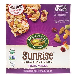 Nature's Path, Organic, Sunrise Breakfast Bars, Trail Mixer, Gluten Free, 5 Bars, 1.2 oz (35 g) Each