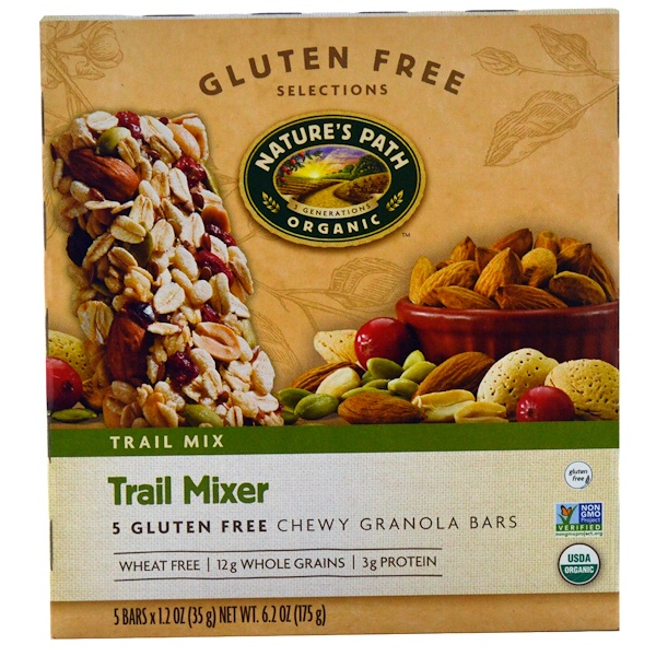 Nature's Path, Organic, Trail Mixer, Chewy Granola Bars, Gluten Free, 5 Bars, 1.2 oz (35 g) Each