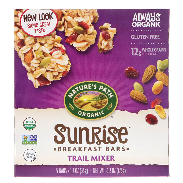 Nature's Path, Organic, Sunrise Breakfast Bars, Trail Mixer, Gluten Free, 5 Bars, 1.2 oz (35 g) Each (Discontinued Item)