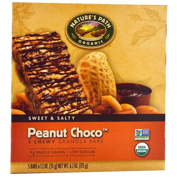 Nature's Path, Organic, Chewy Granola Bars, Peanut Choco, 5 Bars, 1.2 oz (35 g) Each (Discontinued Item)
