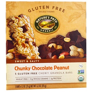 Nature's Path, Gluten Free Selections, Chewy Granola Bars, Chunky Chocolate Peanut, 5 Bars, 1.2 oz (35 g) Each