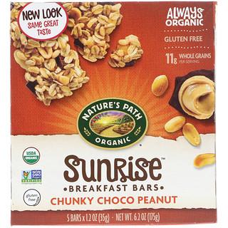 Nature's Path, Organic, Sunrise Breakfast Bars, Chunky Choco Peanut, 5 Bars, 1.2 oz (35 g) Each