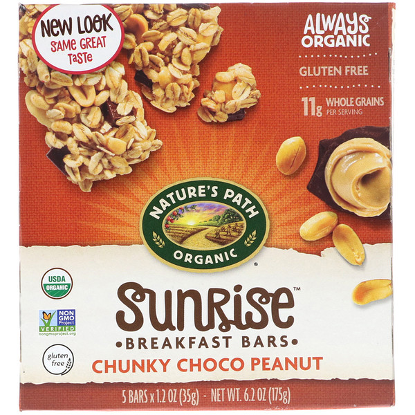 Nature's Path, Organic, Sunrise Breakfast Bars, Chunky Choco Peanut, 5 Bars, 1.2 oz (35 g) Each