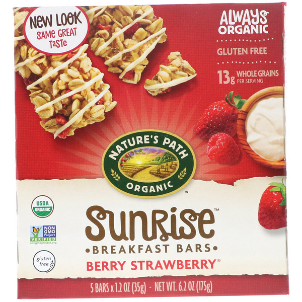 Nature's Path, Organic, Sunrise Breakfast Bars, Berry Strawberry, 5 Bars, 1.2 oz (35 g) Each (Discontinued Item)