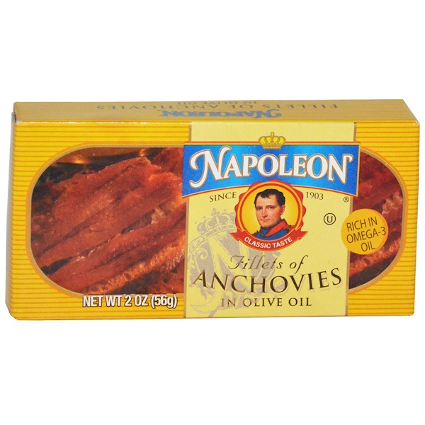 Napoleon Co., Fillets of Anchovies in Olive Oil, 2 oz (56 g)
