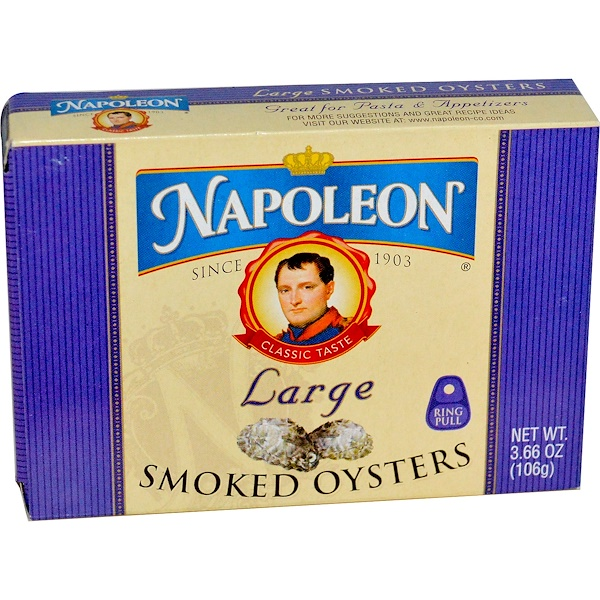 Napoleon Co., Large Smoked Oysters, 3.66 oz (106 g)