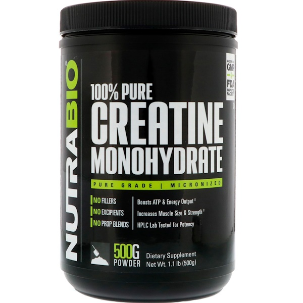 NutraBio Labs, Creatine Monohydrate, 1.1 lb (500 g) (Discontinued Item)