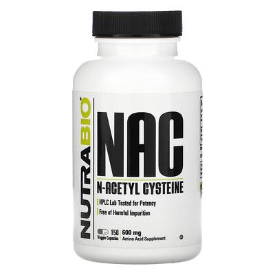 Купить NutraBio Labs NAC, N-Acetyl Cysteine, 600 mg, 150 Veggie Capsules