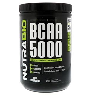 NutraBio Labs, BCAA 5000, Необработанный продукт без вкусовых добавок, 0,9 фунта (400 г)