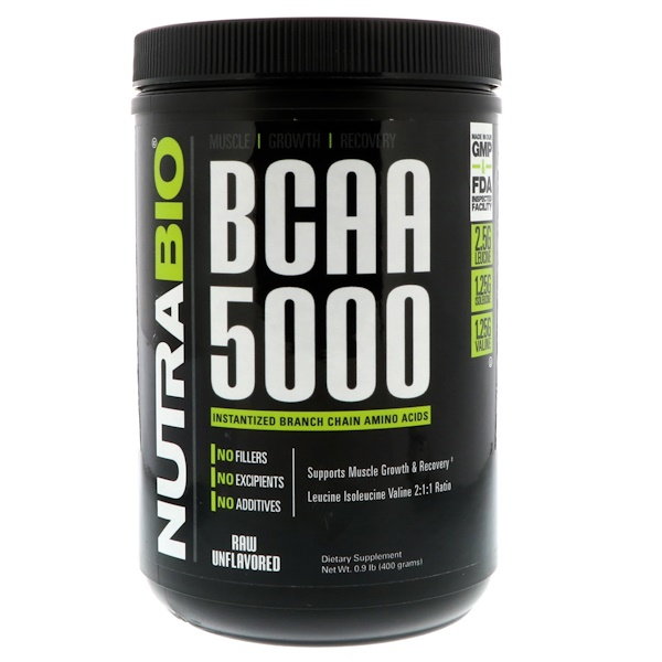NutraBio Labs, BCAA 5000, Raw Unflavored, 0.9 lb (400 g) (Discontinued Item)