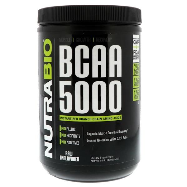 NutraBio Labs, 支鏈氨基酸5000,原味,0、9磅(400克)