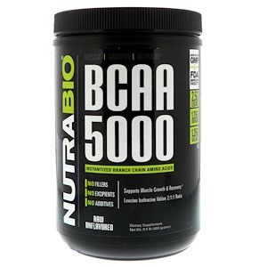 NutraBio Labs, BCAA 5000, Raw Unflavored, 0.9 lb (400 g) отзывы