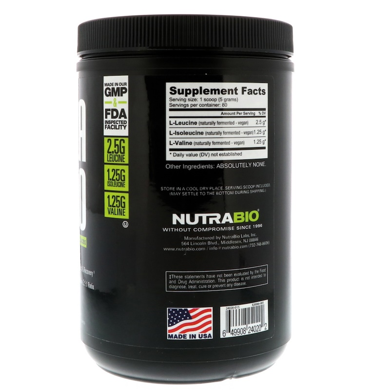 NutraBio Labs, BCAA 5000, Raw Unflavored, 0.9 lb (400 g) - photo 1