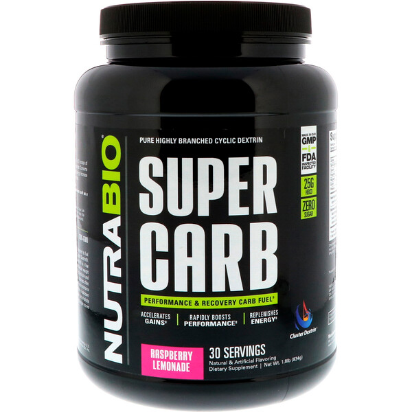 NutraBio Labs, Super Carb, 라즈베리 레모네이드, 834g(1.8lb)