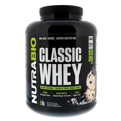 NutraBio Labs 經典乳清蛋白,餅乾和奶油,5磅(2268克)