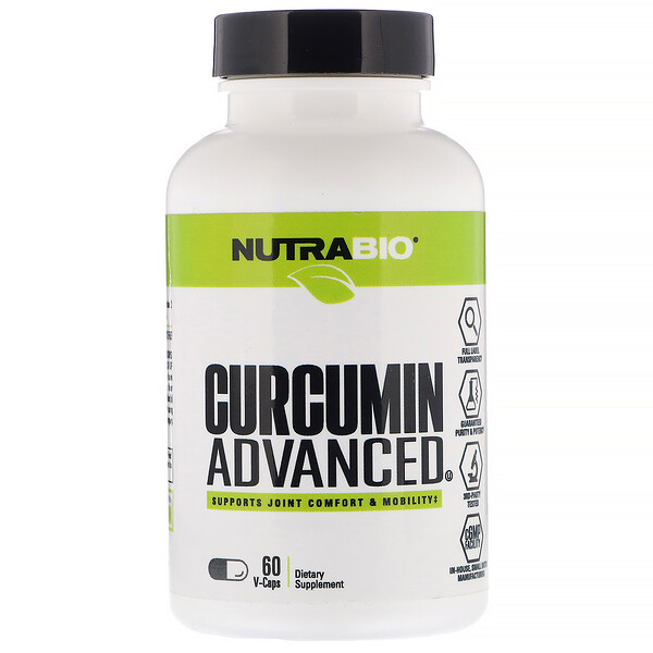 NutraBio Labs, Curcumin Advanced, 60 V-Caps