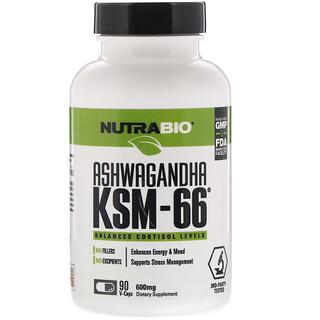 NutraBio Labs, Ginseng indio KSM-66, 600mg, 90 cápsulas vegetarianas