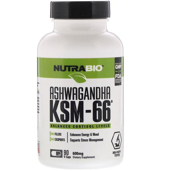 NutraBio Labs, アシュワガンダKSM-66、600 mg、植物性カプセル90粒