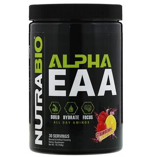 NutraBio Labs, Alpha EAA, Bomba de fresa y limón, 458g (1lb)