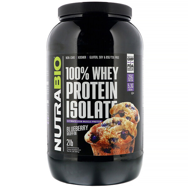 NutraBio Labs, 100% Whey Protein Isolate, Blueberry Muffin, 2 lb (907 g)