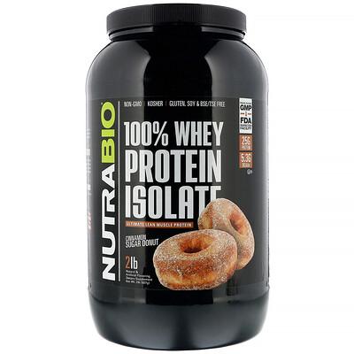 Купить NutraBio Labs 100% изолят сывороточного протеина, «Пончик с коричным сахаром», 907г (2фунта)
