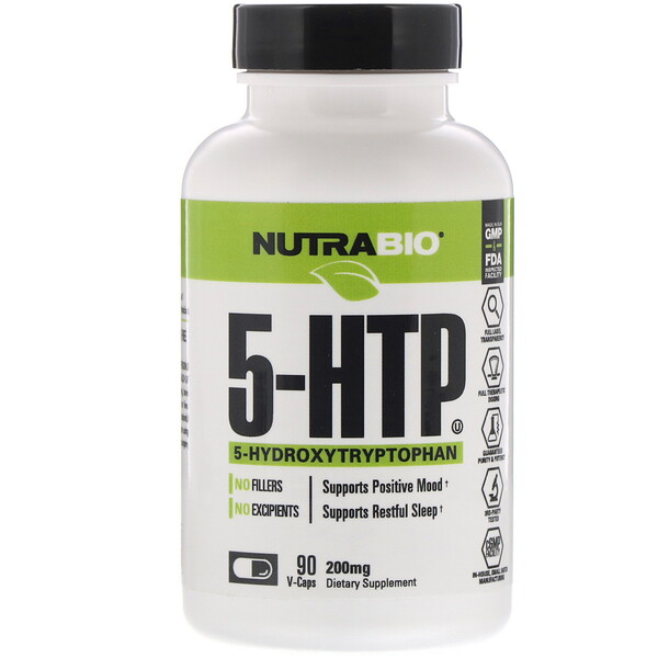 NutraBio Labs, 5-HTP, 200 mg, 90 V-Caps