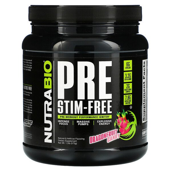 PRE-Workout, ללא ממריצים, בטעם Dragonfruit Candy, מכיל 573 גרם (1.3 פאונד)