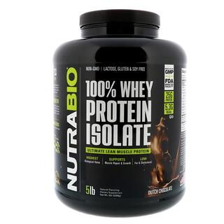 NutraBio Labs, 100%ホエイプロテインアイソレート、ダッチチョコレート、5ポンド (2268 g)
