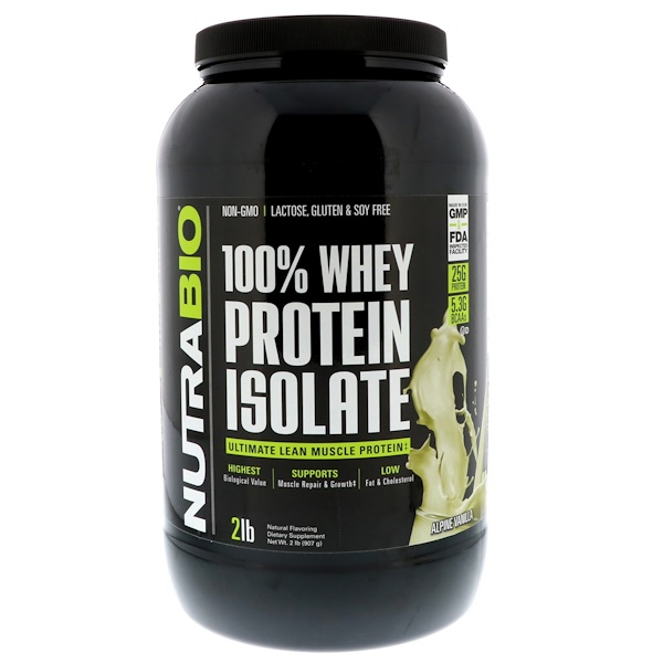 NutraBio Labs, 100% Whey Protein Isolate, Alpine Vanilla, 2 lbs (907 g) (Discontinued Item)