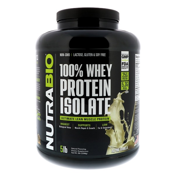 NutraBio Labs, 100% Whey Protein Isolate, Alpine Vanilla, 5 lbs (2268 g) (Discontinued Item)