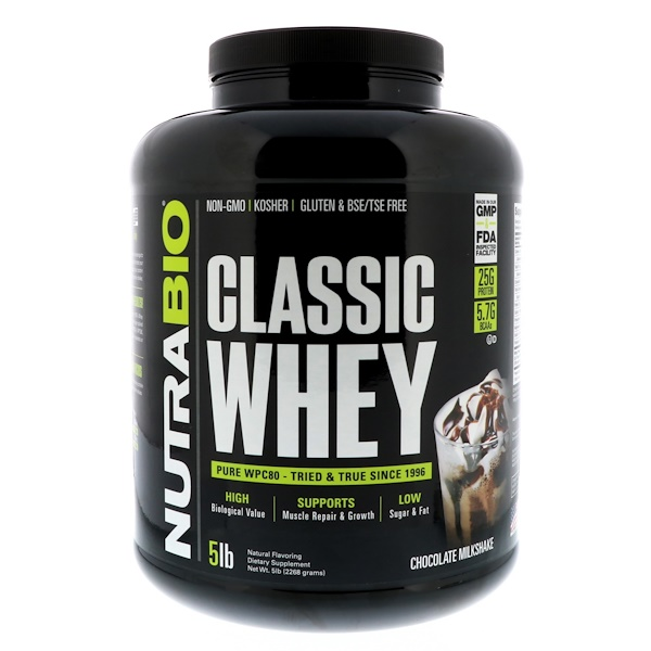 NutraBio Labs, Classic Whey Protein, Chocolate Milkshake, 5 lbs (2268 g) (Discontinued Item)