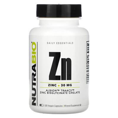 Купить NutraBio Labs Zn, Zinc, 30 mg, 120 Veggie Capsules