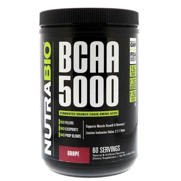 NutraBio Labs, BCAA 5000، العنب، 0.83 رطل (374 غرام)