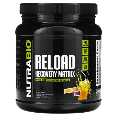 NutraBio Labs Reload Recovery Matrix, Passion Fruit, 1.83 lb (831 g)