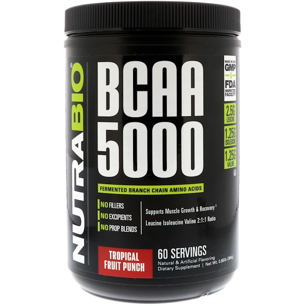 NutraBio Labs, BCAA 5000, Tropical Fruit Punch, 0.85 lb (384 g) (Discontinued Item)