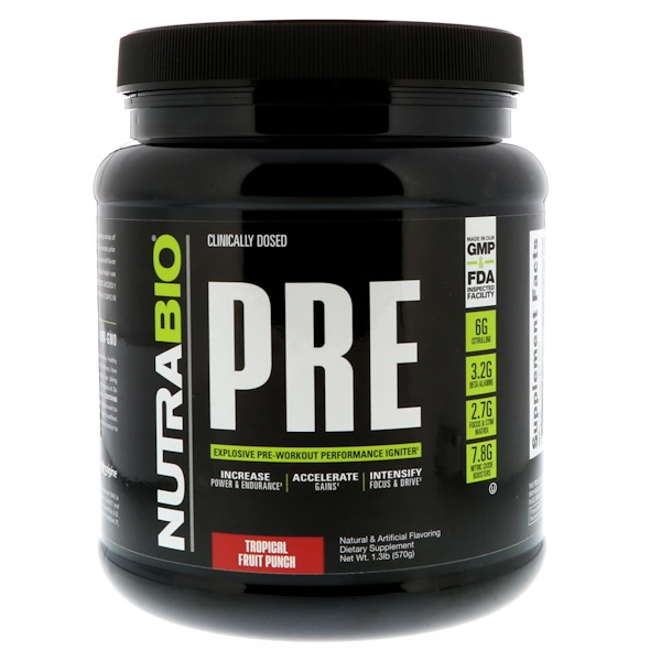 NutraBio Labs, PRE-Workout, Tropical Fruit Punch, 1.3 lb (570 g) (Discontinued Item)