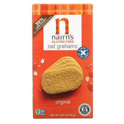 Nairn's Gluten Free, Oatmeal Grahams, Original, 5.64 oz (160 g)
