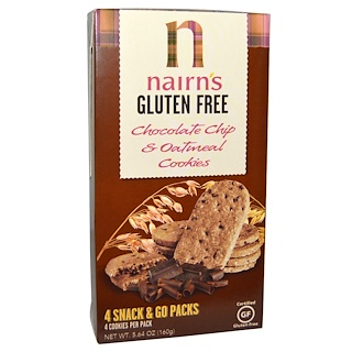 Nairn's Inc, Gluten Free, Chocolate Chip & Oatmeal Cookies, 5.64 oz (160 g)