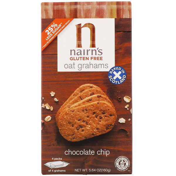 Nairn's Inc, Gluten Free,  Oat Grahams, Chocolate Chip, 5.64 oz (160 g)