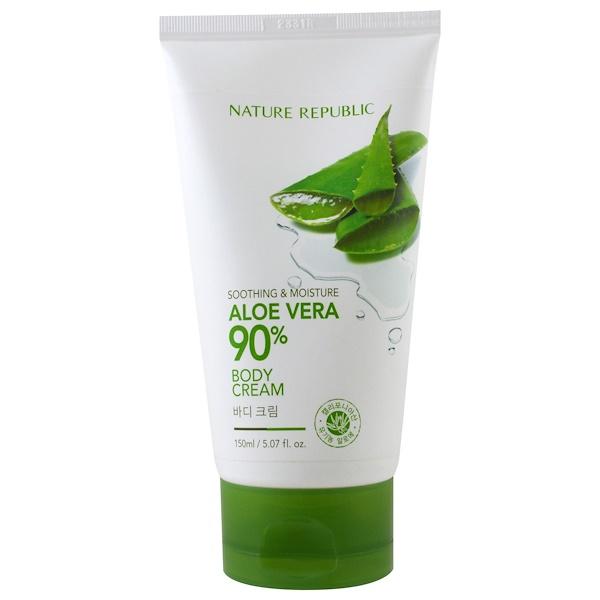 Nature Republic, Soothing & Moisture Aloe Vera, 90% Body Cream, 5.07 fl oz (150 ml) (Discontinued Item)