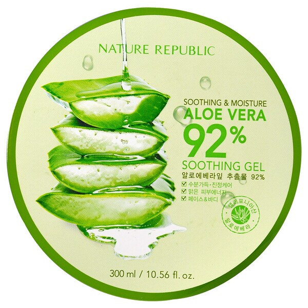 Nature Republic, Gel con 92 % Aloe Vera calmante y humectante, 10,56 fl oz (300 ml)