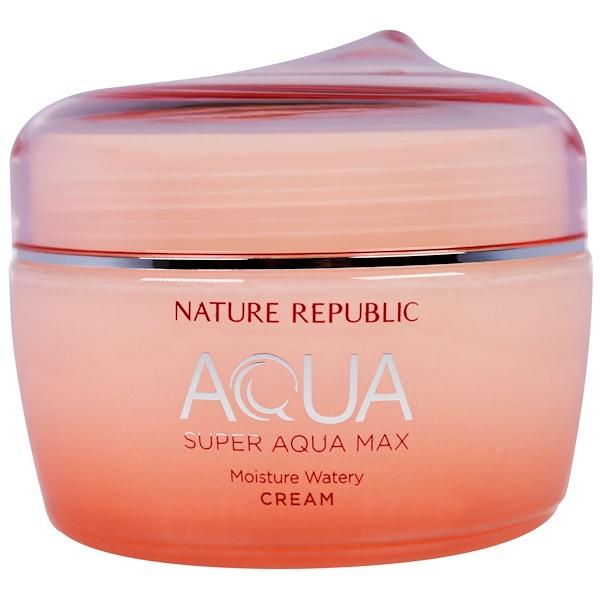 Nature Republic, Aqua, Super Aqua Max, Moisture Watery Cream, 2.70 fl oz (80 ml) (Discontinued Item)