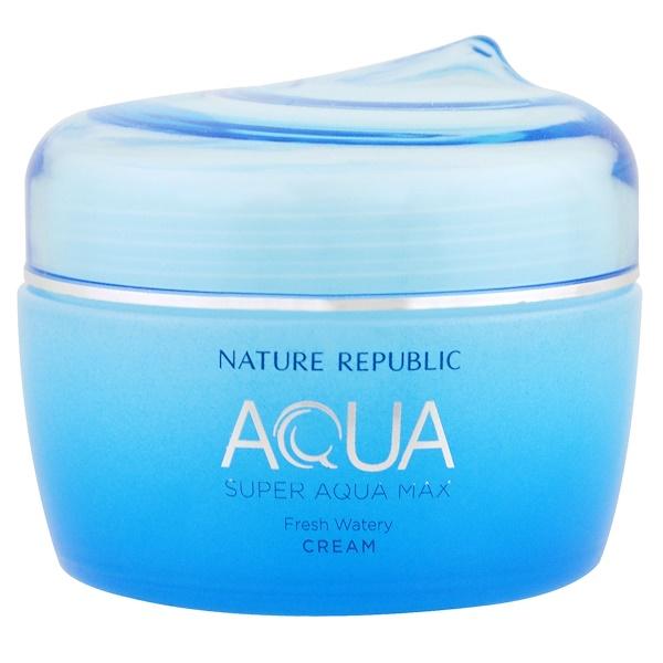 Nature Republic, Aqua, Super Aqua Max, crème hydratante et rafraîchissante, 2,70 fl oz (80 ml)