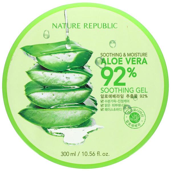 Nature Republic, Soothing & Moisture Aloe Vera 92% Soothing Gel, 10.56 fl oz (300 ml)