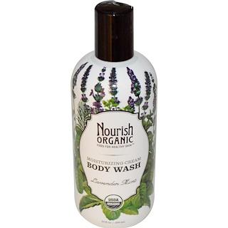 Nourish Organic, ボディウォッシュ、ラベンダーミント、10液量オンス(295 ml)