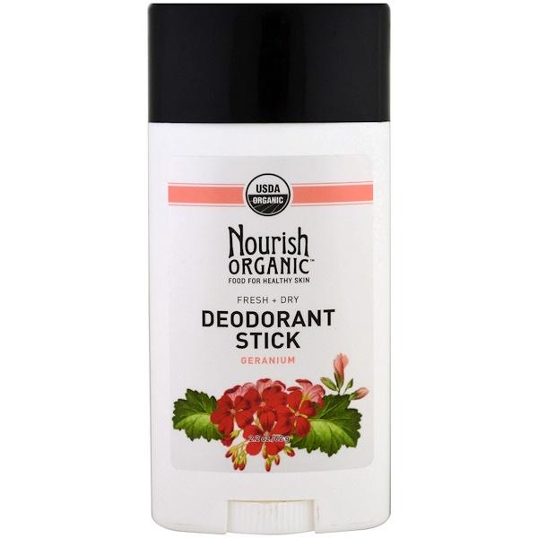Nourish Organic, 有機除臭棒,清爽乾燥,天竺葵,2、2盎司(62克)