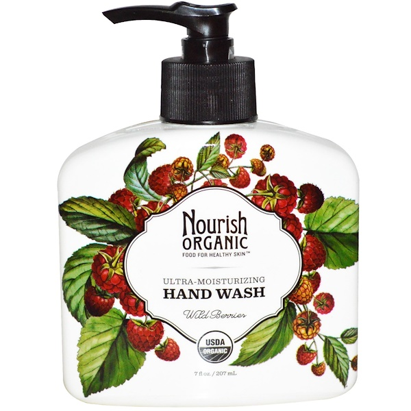 Nourish Organic, Hand Wash, Ultra-Moisturizing, Wild Berries, 7 fl oz (207 ml) (Discontinued Item)
