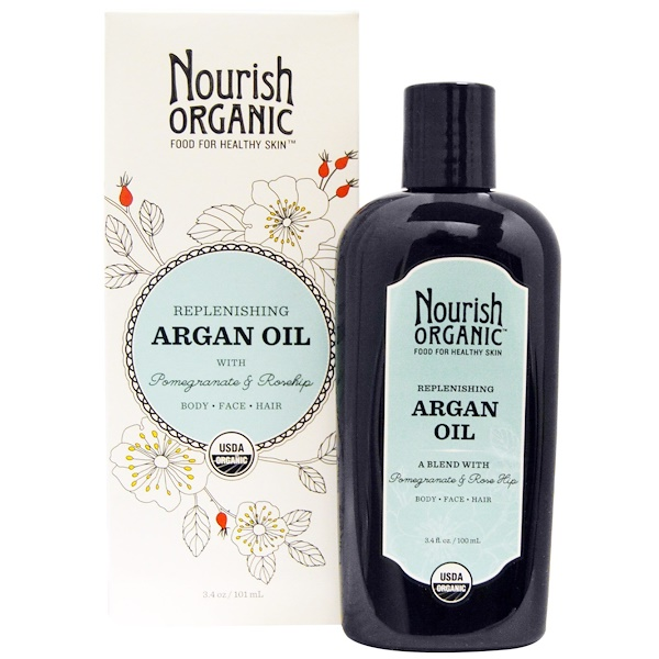 Nourish Organic, Replenishing Argan Oil with Pomegranate and Rosehip, 3.4 oz (101 ml)