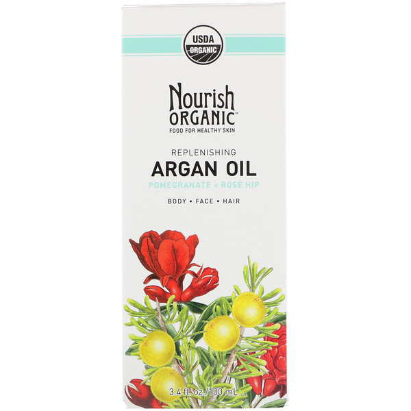Nourish Organic, Replenishing Argan Oil, Pomegranate + Rosehip, 3.4 fl oz (100 ml) (Discontinued Item)